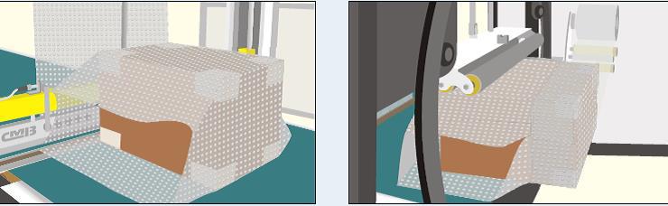 Instalación automática de embalaje combinado en frio para films de polietileno, burbuja u otras combinaciones, con cabezal de soldadura y corona giratoria para film estirable. Serie COOLPACK-Express, Express concept.