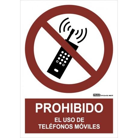 Señal Prohibido el uso de teléfonos móviles