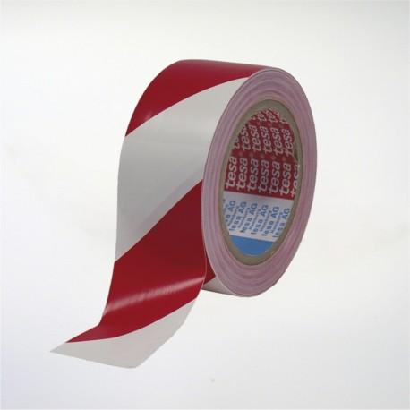 Cinta de marcaje y señalización autoadhesiva blanca y roja - 5 cm