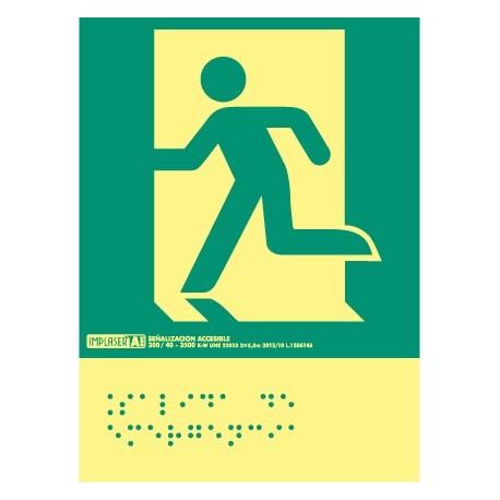 Señal salida de emergencia izquierda - Con escritura Braille Clase A