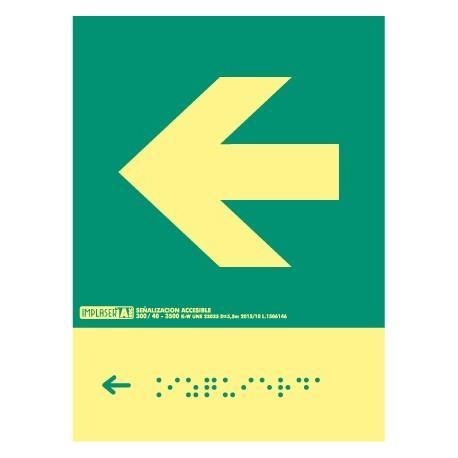 Señal flecha izquierda - Con escritura Braille Clase A