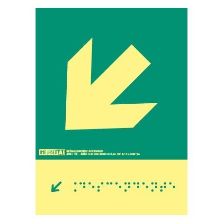Señal flecha izquierda descendente - Con escritura Braille