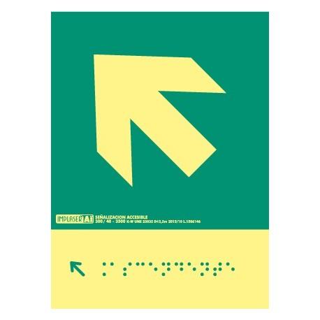 Señal flecha izquierda ascendente - Con escritura Braille