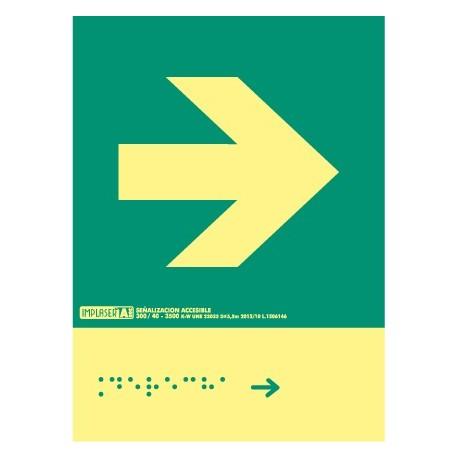 Señal flecha derecha - Con escritura Braille