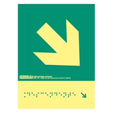 Señal flecha derecha descendente - Con escritura Braille