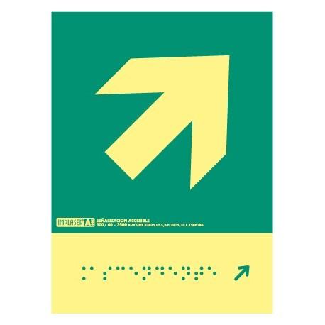 Señal flecha derecha ascendente - Con escritura Braille