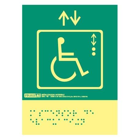 Señal ascensor de evacuación - Con escritura Braille
