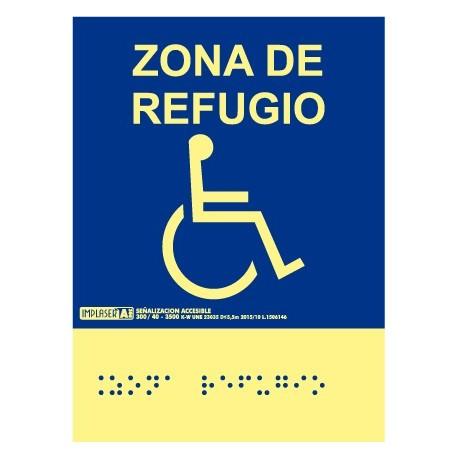 Señal zona de refugio - Con escritura Braille