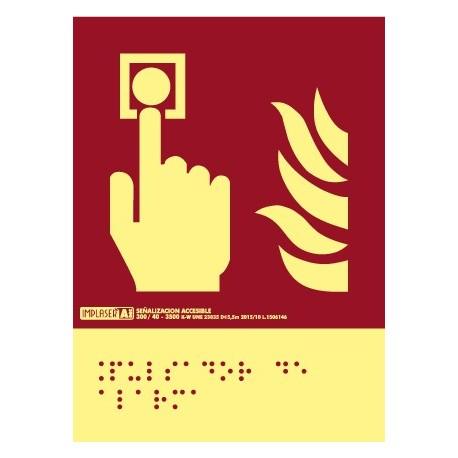 Señal pulsador alarma - Con escritura Braille clase A