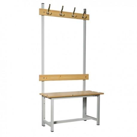 Banco de vestuario en madera y acero con perchas BANC-ECO-2-1000