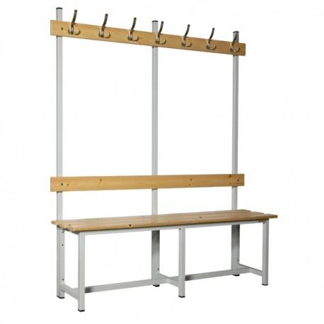 Banco de vestuario en madera y acero con perchas BANC-ECO-2-1500