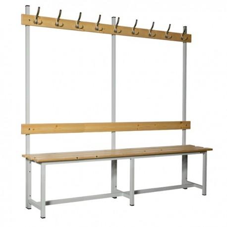 Banco de vestuario en madera y acero con perchas BANC-ECO-2-2000