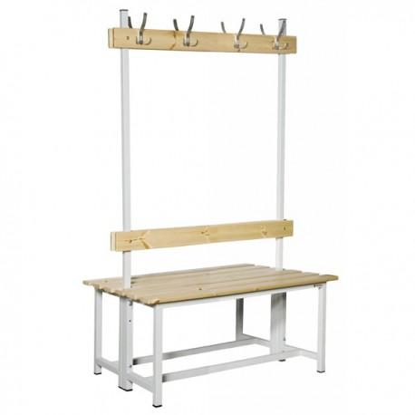Banco Doble de vestuario en madera y acero con perchas BANC-ECO-2-1000 DC