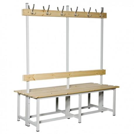 Banco Doble de vestuario en madera y acero con perchas BANC-ECO-2-1500 DC