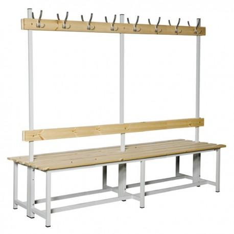 Banco Doble de vestuario en madera y acero con perchas BANC-ECO-2-2000 DC