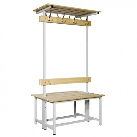 Banco Doble de vestuario con repisa superior en madera y acero con perchas BANC-3-1000-DC