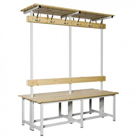 Banco Doble de vestuario con repisa superior en madera y acero con perchas BANC-3-1500-DC