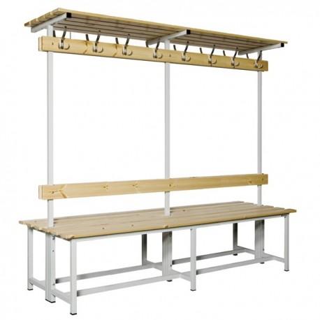Banco Doble de vestuario con repisa superior en madera y acero con perchas BANC-3-2000-DC