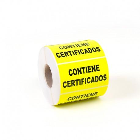 """Etiqueta Adhesiva """"Contiene certificados"""""""