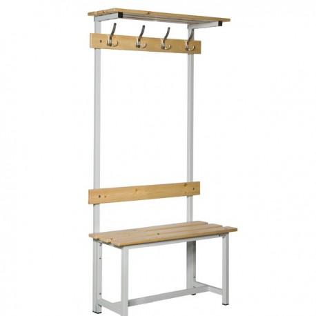 Banco de vestuario con repisa superior en madera y acero con perchas BANC-ECO-3-1000