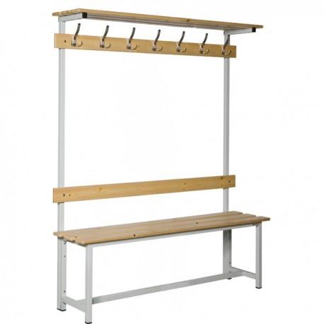 Banco Doble de vestuario con repisa superior en madera y acero con perchas BANC-ECO-3-1500