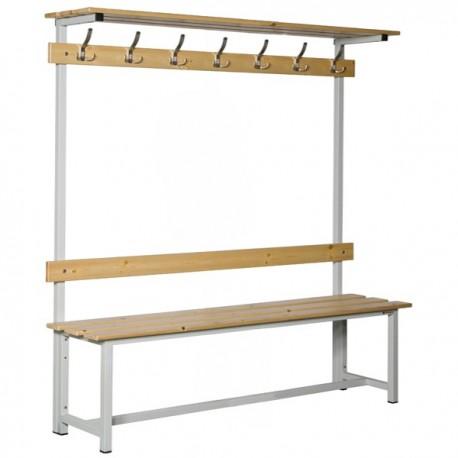 Banco Doble de vestuario con repisa superior en madera y acero con perchas BANC-3-2000