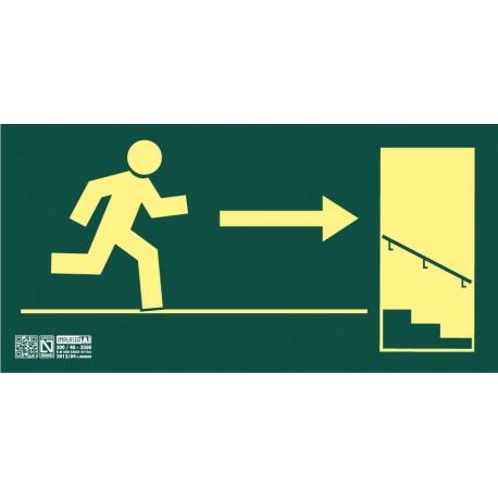 Señal Salida escalera descendiente derecha Clase A