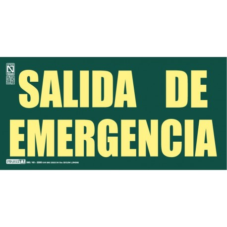 Señal Salida de emergencia dos líneas Clase A