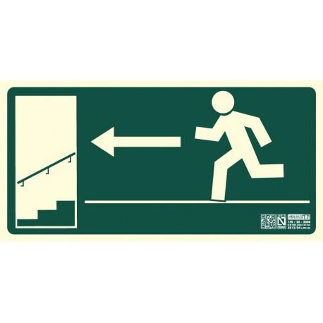Señal Salida escalera descendiente izquierda Clase b