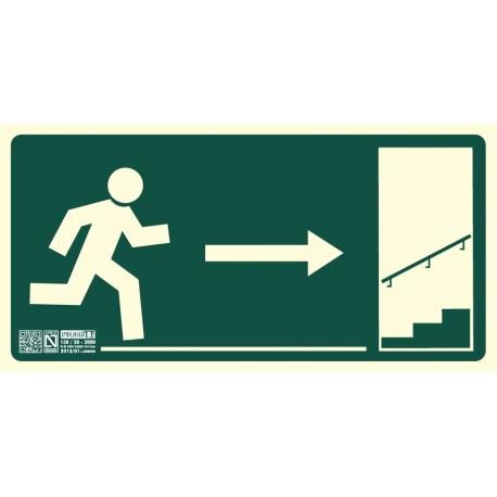 Señal Salida escalera ascendiente derecha Clase B