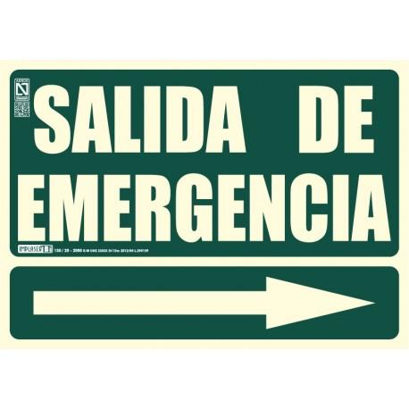 Señal literal de Salida de emergencia + Flecha recta Clase B