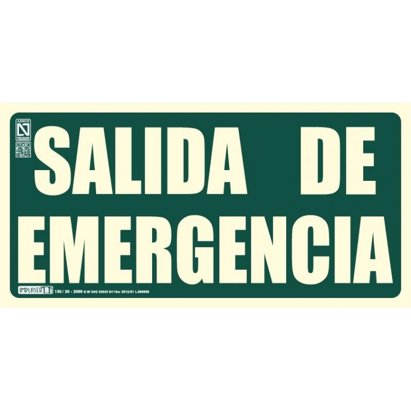 Señal Salida de emergencia dos líneas con marco clase B