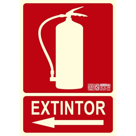 Señal Extintor Flecha Izda. Clase B
