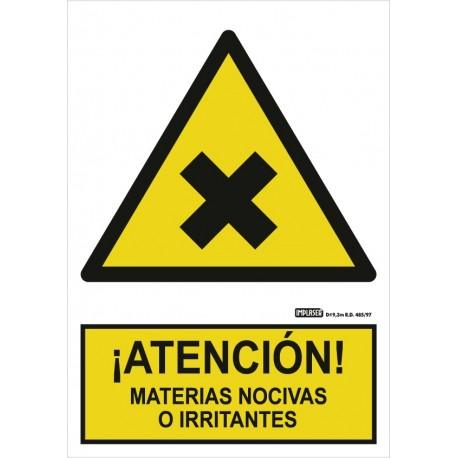 Señal Atención de materias nocivas o irritantes