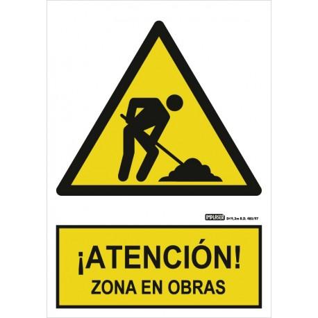 Señal ¡Atención! Zona en obras
