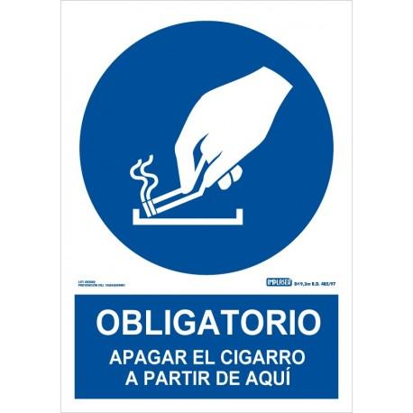 Señal obligatorio apagar el cigarro a partir de aquí