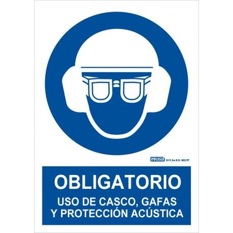 Señal obligatorio uso de casco, gafas y protección acústica
