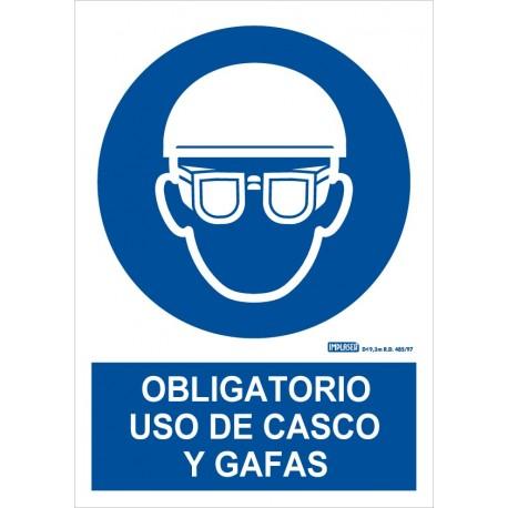 Señal obligatorio uso de casco y gafas