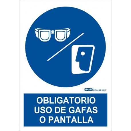 Señal uso obligatorio de gafas o pantalla
