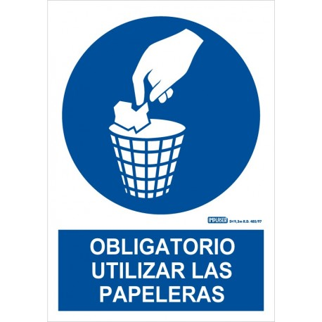 Señal obligatorio usar las papeleras