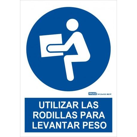 Señal obligatorio utilizar las rodillas para levantar peso